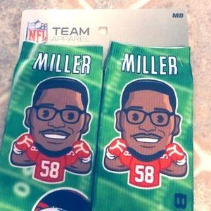 Broncos Miller #58 GameDay Socks, Size MD